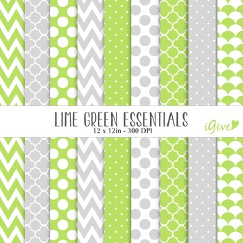 "lime green Digital Papers - ""Essentials"""