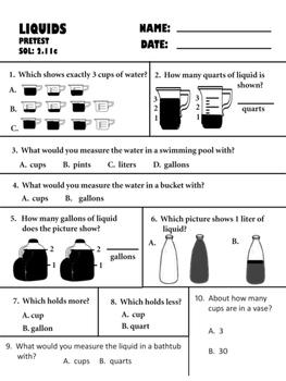 liquid measurement pretest, posttest, and retest