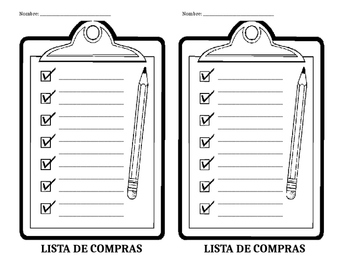 lista de compras shopping list spanish