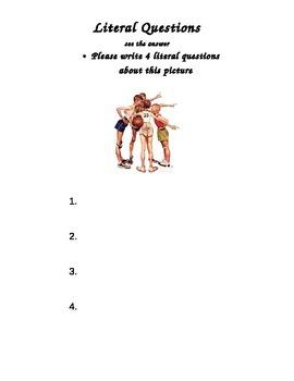 literal question worksheet