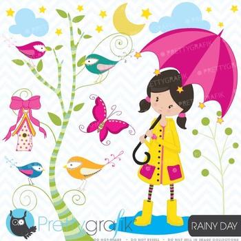 little girl in the rain clipart commercial use, vector gra