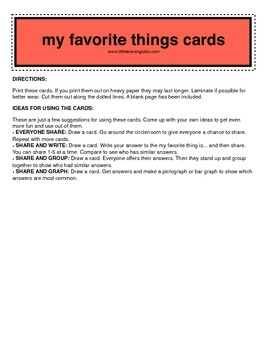 little learning labs - my favorite things cards set