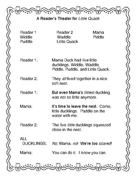 Little Quack - A Spring Reader's Theater