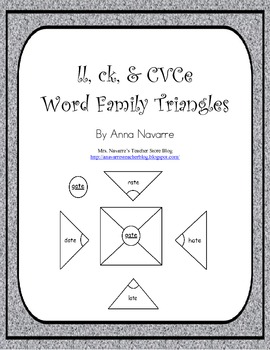 ll, ck, and CVCe Word Family Triangles