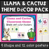 llama and cactus classroom decor theme color and shape posters
