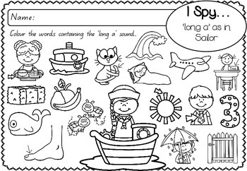 'long a' as in Sailor - Spelling Activity Packet