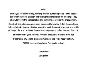 long division pumpkin puzzle