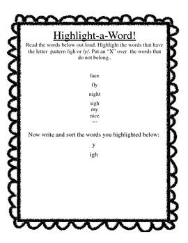 long i (igh,y) centers worksheet