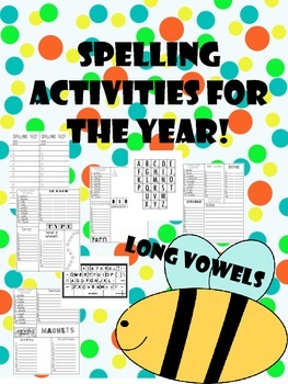 long vowel spelling/word work activities and lists