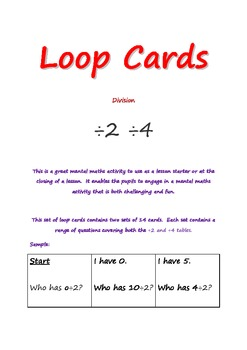 loop cards division 2, division 4 tables