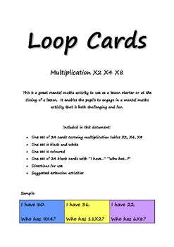 loop cards multiplication by 2, 4, 8