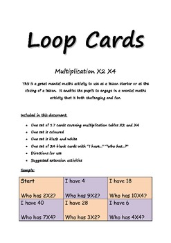 loop cards multiplication by 2 and 4