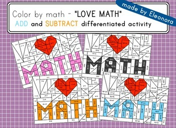 """""""love math""""- 4 add and subtract differentiated puzzles ali"""