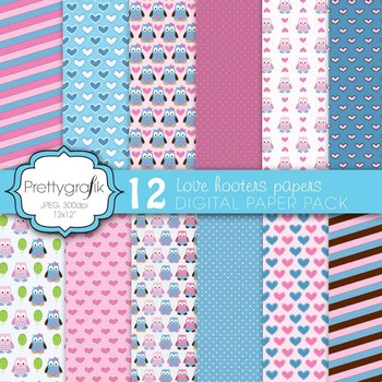 love owls digital paper, commercial use, scrapbook papers,