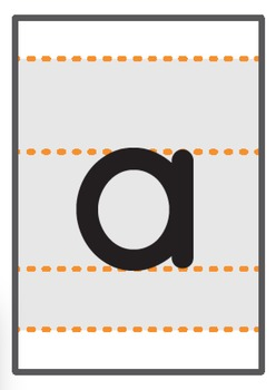 lowercase a-z A6 flashcards with writing guide