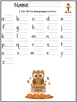 lowercase letters of the alphabet writing worksheet- Fall/ Autumn/ September