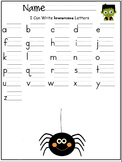 lowercase letters of the alphabet writing worksheet- Halloween/ October