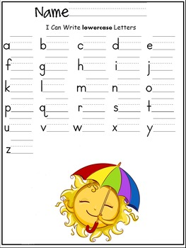 lowercase letters of the alphabet writing worksheet- Summer/ May