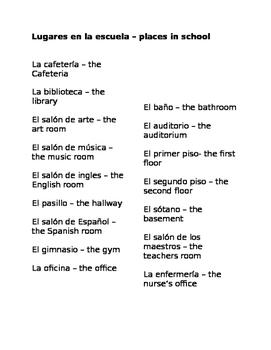 lugares en la escuela vocabulario