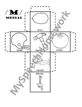 /m/ Articulation Dice Craft - initial, medial, & final