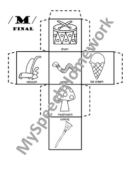 /m/ Articulation Dice Craft - initial, medial, & final