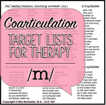 /m/, /n/ & /h/ Sound Targets for Articulation Therapy {featuring coarticulation}