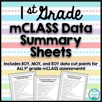 mCLASS Reading 3D Student Data Summary Sheets (1st Grade)