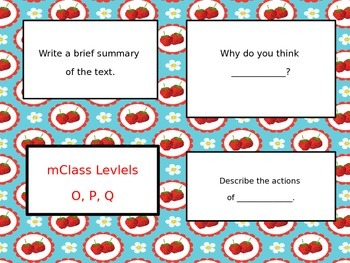 mClass Question Stem Cards- strawberry fields theme