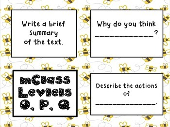 mClass Question Stem Cards-yellow and brown bees theme