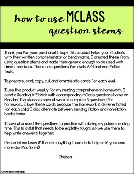 mClass Question Stem Homework Cards