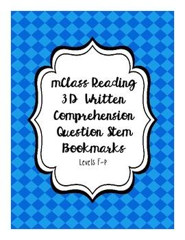 mClass Reading 3D Written Comprehension Question Stem Bookmarks
