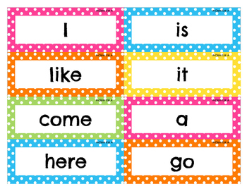 mClass Sight Word Cards--Bright Polka Dot
