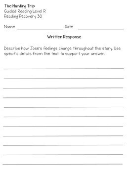 mClass TRC Written Responses for ReadingA-Z Benchmark Books Lvls F to U