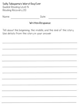 mClass TRC Written Responses for ReadingA-Z Benchmark Books Lvls L to Q