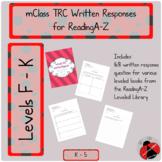 mClass TRC Written Responses for ReadingA-Z Leveled Books