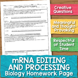mRNA Editing and Processing Biology Homework Worksheet