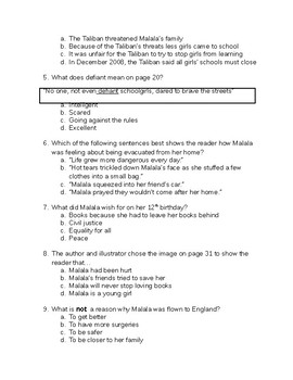 malala yousafzai the right for education - skill questions and writing activity