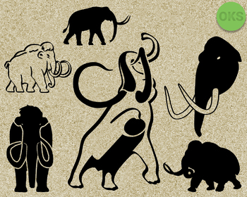mammoth SVG cut files, DXF, vector EPS cutting file instant download for cricut