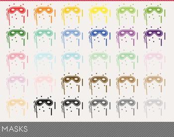 masks Digital Clipart, masks Graphics, masks PNG, Rainbow masks Digital Files
