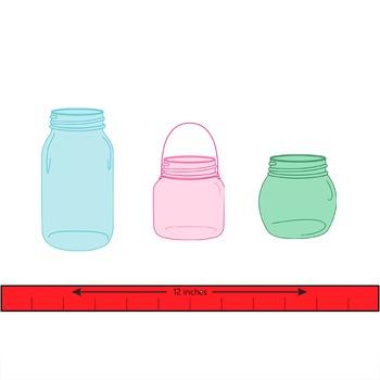 mason jar clip art in hoiday colors - red/green/pink/blue mason jars  TPT171