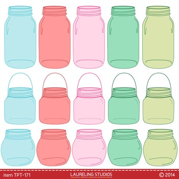 mason jar clip art in hoiday colors - red/green/pink/blue mason jars  TPT171