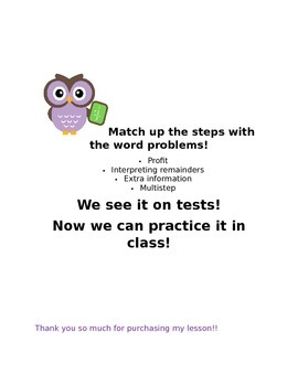 match how you solve word problems to the word problem