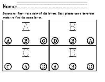 match the letters / Morning work