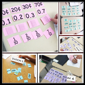 Matching Cards for  Math Centers (fractions, decimal, money, & visuals)