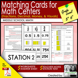 Matching Cards for  Math Centers (fractions, decimal, mone