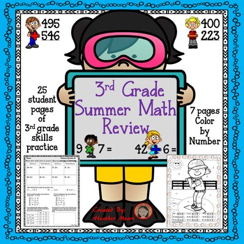 3rd grade math summer review packet Distance Learning
