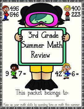 3rd grade Math summer review packet freebie
