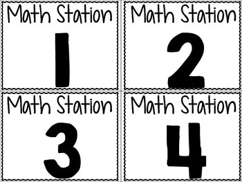 math Center Station Labels FREEBIE