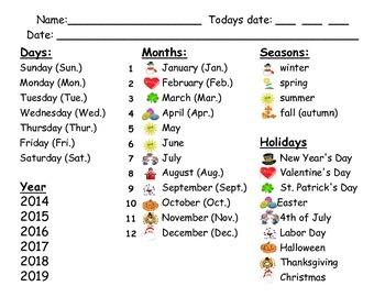 Calendar Daily Date Sheet