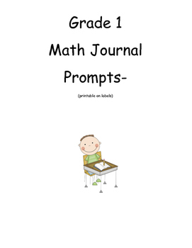 math Journal Prompts-Grade 1 (for labels)